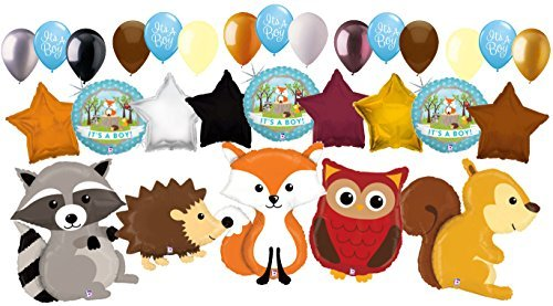 29pc Woodland Creatures It's a Baby Boy Animals Balloon Bouquet Party Decoration]()