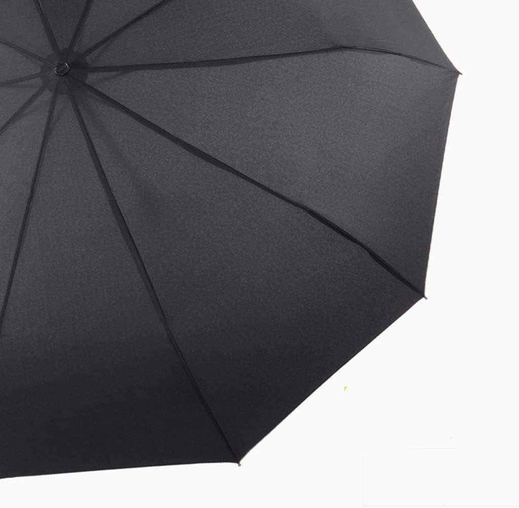 HongTeng Umbrella Folding 10 Bone Reinforcement Windproof Business Sunny Day Rain Dual Use Automatic Black 41.7x24.8in