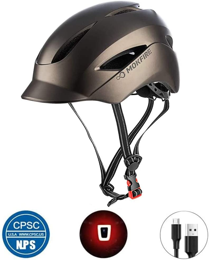 Adult Bicycle Helmet Classic Urban Commuter Bike Helmet Hat Tongue Design Rechargeable USB Safety Light CPSC Certified Road Cycling Helmet Adjustable Size for Men and Women