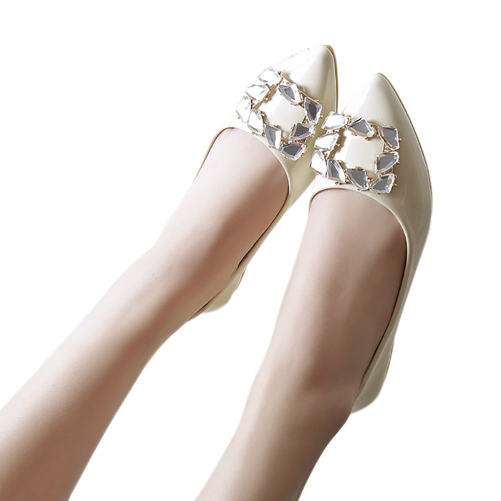 QZUnique Women's Pointed Toe PU Leather Ballet Slip On Boat Rhinestone Flat Shoes B0757H6M9D 8.5 B(M) US Apricot