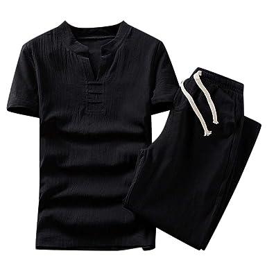 Outfits 2 Piezas para Hombre F_Gotal algodón Lino Moda Manga Corta ...