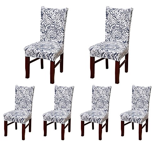 SoulFeel 6 x Soft Spandex Fit Stretch Short Dining Room Chair Covers with Printed Pattern, Banquet Chair Seat Protector Slipcover for Home Party Hotel Wedding Ceremony (Style 9)