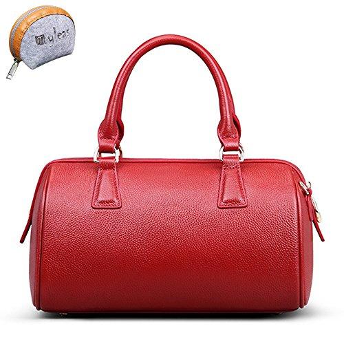 Myleas Mano Rojo Al st5646 Para De Hombro 2w Correa Mujer Bolso Genuino Con Cuero rqpOrv