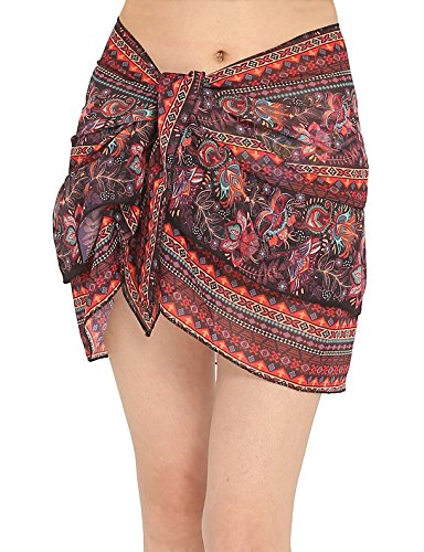ChinFun Women's Beach Cover up Short Sarong Dress Pareo Multi Wear Ruffle Swim Skirts Bathing Suit Bikini Chic Mini Sexy Swimsuit Wrap Swimwear Chiffon Shawl Purplish Red Pattern