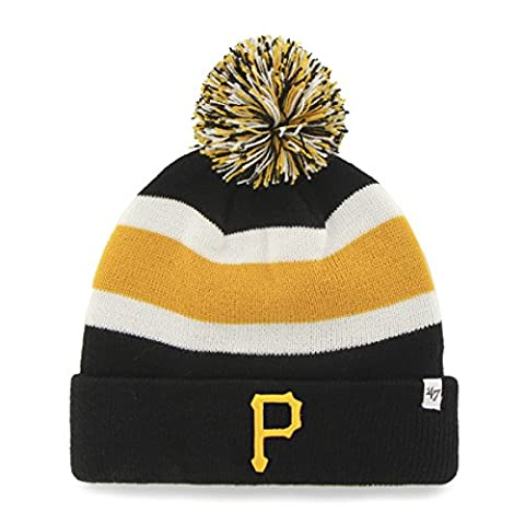 MLB Pittsburgh Pirates '47 Brand Breakaway Cuff Knit Hat with Pom, Black, One Size - Black Classic Knit Beanie