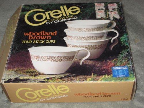 """Set of 4 - Vintage Corelle Livingware """" Woodland Brown """" Sta"""
