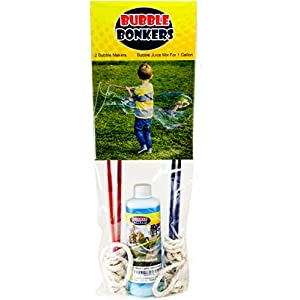 2 BUBBLE WANDS & SOAP MIX FOR 1 GALLON. Kids love big bubbles. Fun for everyone. Just add water to the giant bubble solution.