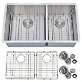 undermount kitchen sinks double bowl PRIMART PHU33DO Handcrafted 33