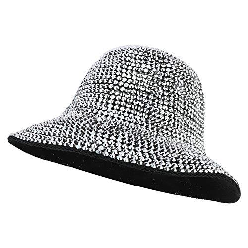 Trendy Apparel Shop Fashion Bling Rhinestone Studs Detailed Bucket Hat - Black