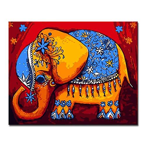 GWYKQ Diy pintura al oleo por numeros kits pintados a mano dibujo elefante abstracto para colorear lienzo cuadros arte de la pared decoracion para el hogar,Sin Marco 40x50cm