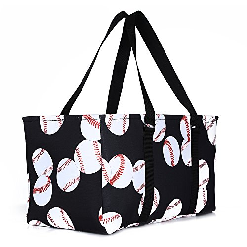 lo lord Baseball Tote Bag Utility Weekender Tote Open Top Extra Large Beach Tote Perfect for Travel Pool Beach and Car Organizer (Baseball white) ()