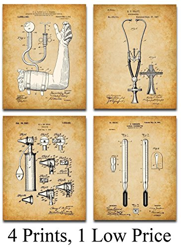 Original Medical Patent Art Prints - Set of Four Photos (8x10) Unframed - Great Gift for Doctors, Nurses, Nursing Students