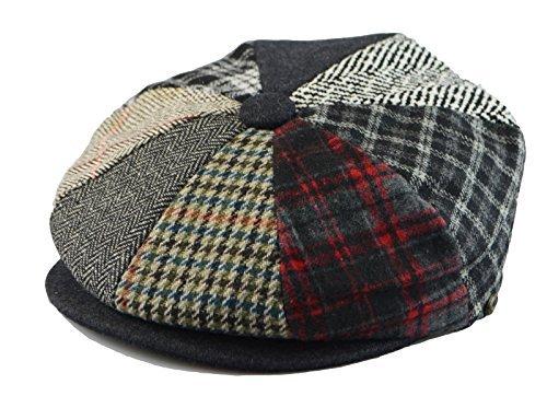 Mens Winter 8 Panel Newsboy Hat Patch Work or Plain Cap M(58), L(59), XL(61) (XL(23 1/2 in / 7 7/8 / 61cm), Multi ()