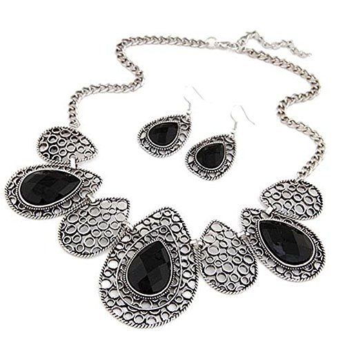Vwhite Womens Luxury Drop Pattern Pendant Bib Necklace Hook Earring Jewelry Set Black