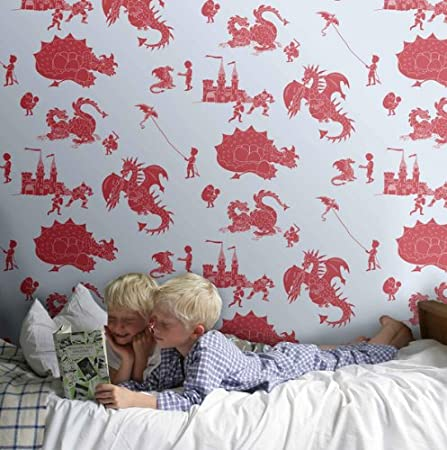 "Paperboy Wallpaper ""ere be dragons"" (Stone Taupe and Orange): Amazon.co.uk: Kitchen & Home"