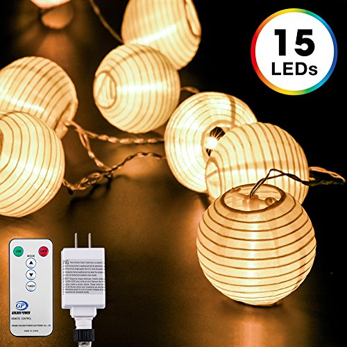 White Paper String Lights - Lantern String Lights, DecorNova 10 Feet 15 LEDs Chinese Oriental Style Nylon Ball String Lights with Remote & UL Power Adapter for Christmas Fireplace Wedding Bedroom, Warm White
