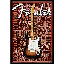 buyartforless IF AQ 241279 36x24 1.25 Black Plexi Framed Fender Words 36X24 Art Print Poster Wall Decor Guitar Rock & Roll Strum Star Amps Fire Metal String Tones Strut Live Hero Axe Electric
