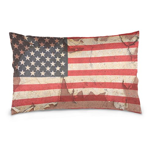 Top Carpenter USA Flag Overlay Old Color Skin Velvet Oblong Lumbar Plush Throw Pillow Cover/Shams Cushion Case - 20x30in - Decorative Invisible Zipper Design for Couch Sofa Pillowcase Only