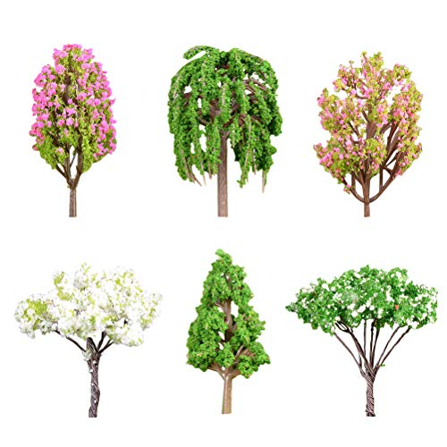 NUOBESTY 6 pcs Plastic Tree Micro Landscape Trees Decor Miniature Plant Bonsai Decoration Artificial Rainforest (Apple Tree Large Crape Myrtle Small Crape Myrtle pear Tree Pine Weeping Willow) ()