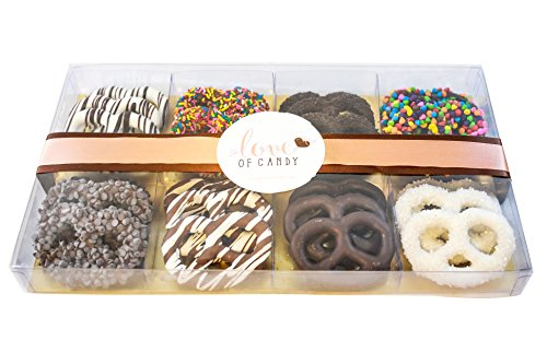 Love of Candy Gourmet Chocolate Covered Pretzel Gift Box, Assorted - Medium