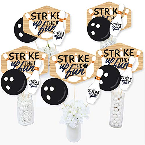 Big Dot of Happiness Strike Up the Fun - Bowling - Birthday Party or Baby Shower Centerpiece Sticks - Table Toppers - Set of 15 -