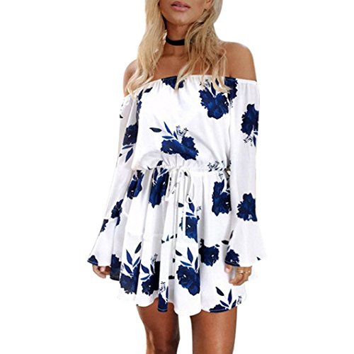 Clearance!Hot Sale!Women Dress Daoroka Sexy Off Shoulder Floral Print Long Flare Sleeve Casual Loose Evening Party Maxi Beach Mini Skirt With Belt (XL, Blue) ()