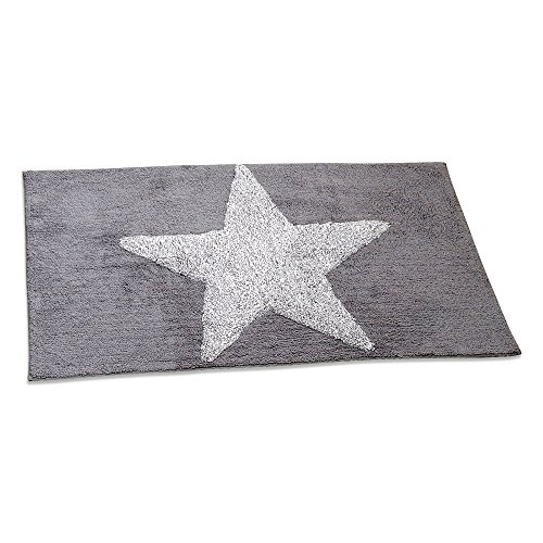 The Cape Cod 5 Point White Star Rectangle Rug, 100% Cotton, Approx. 4 Ft in Length, Nautical Gray and Coastal White, By Whole House Worlds
