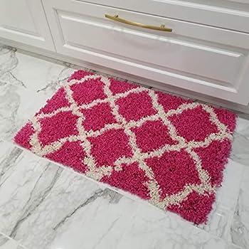 Amazon Com Shag Door Mat New Moroccan Trellis Pink Shag