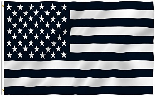 3'x5' BLACK and WHITE AMERICAN FLAG, military, nascar, army - Black History Flags