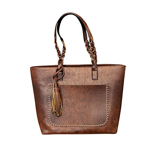 Rakkiss Women Handbag Big Bag Large Capacity Shoulder Bag New Tassel Simple Personality Female Handbags (One_Size, Brown)