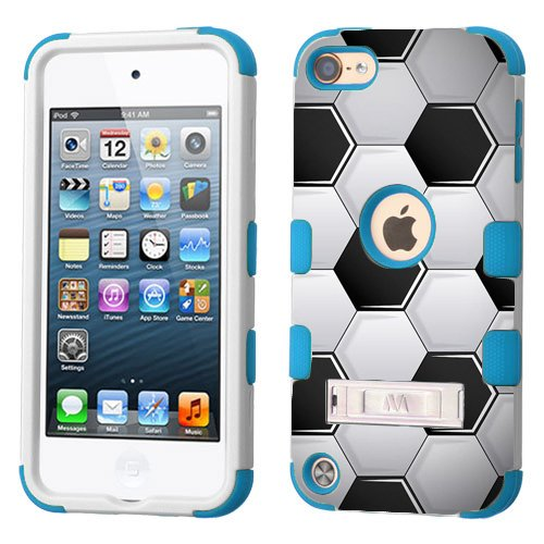Price comparison product image iPod touch 5th 6th Generation White Plastic/ Blue Silicone 3-Piece Style Hybrid Hard Case Cover for Apple - Girls And Boys - Shockproof Dust proof with Stand - 5 / 6 Gen. (Soccer Ball)