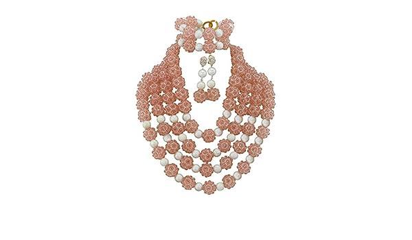 AfricanBeads 4 filas Peach Rosa perlas bola joyería Set, disfraz ...