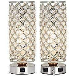 Crystal Table Lamp Set of 2 with USB Charging Port