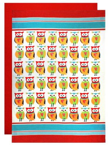 MUkitchen Designer Print 100% Cotton Flour Sack Towels, 24 by 36-Inches, Set of 2, ()