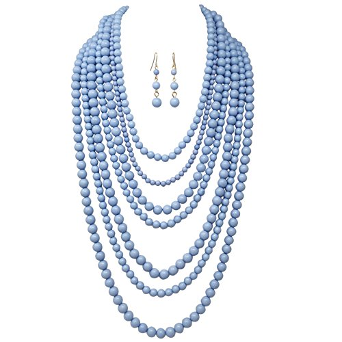 Gypsy Jewels 7 Row Long Layered Imitation Pearl Bead Statement Necklace Earrings Set (Light Blue)