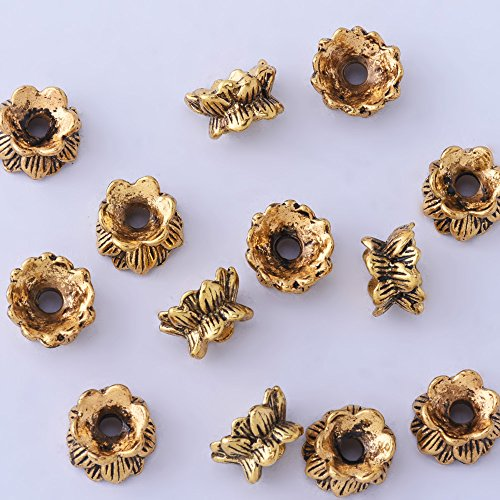 50pcs 6x10mm Lotus Flower Vintage Beads Cap,Filigree Beads Cap,end Cap,Flower Spacer Metal Beads,Antique Gold ()