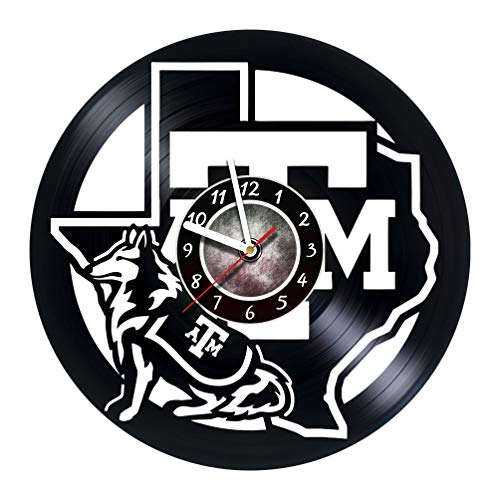 Texas A&M Aggies - Handmade Vinyl Records Wall Clock - Original Present for Fans - Art Room Decor Handmade Decoration Party Supplies Theme Birthday Gift - Vintage and Modern Style (Type 1)