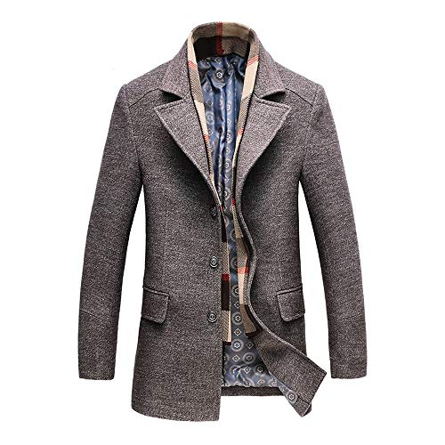 RongYue Men's Wool Blend Classic Pea Coat Winter Single Breasted Peacoat Jacket with Removable Scarf Gray