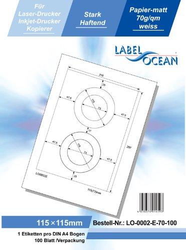 LO-0006-H-70-50 wei/ß 50 Blatt//300 Etiketten Format: 60 x 130 mm LabelOcean selbstklebende Universal-Etiketten 70g//qm