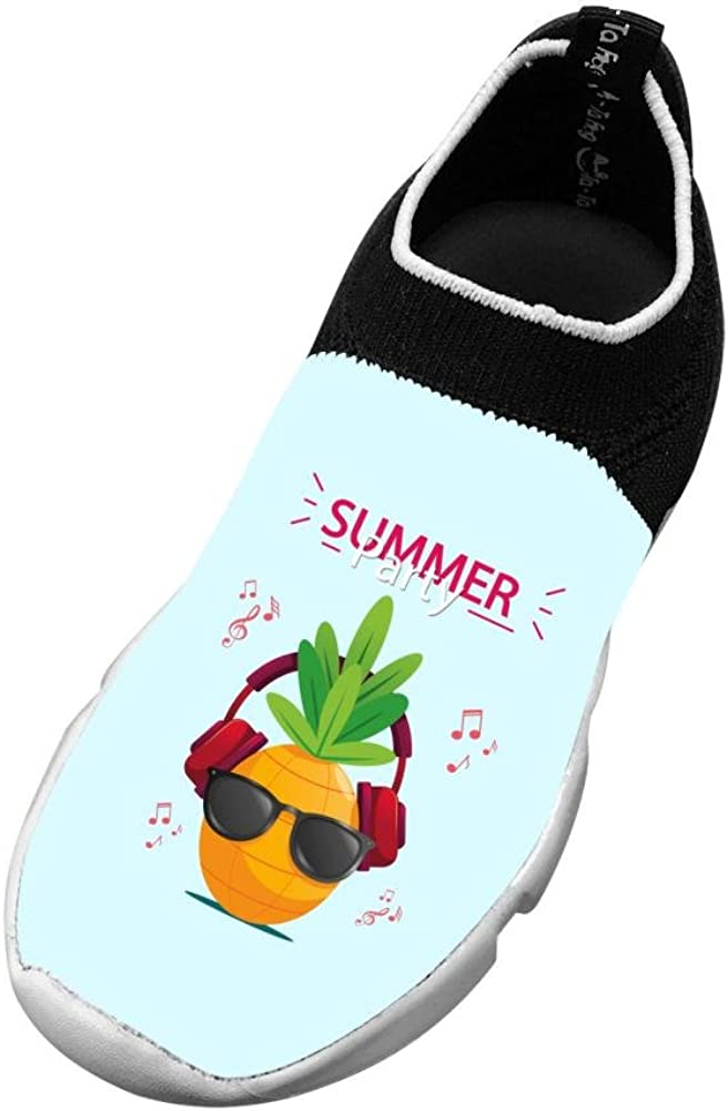 M Us Big Kid Sports Flywire Knitting Gym Shoes For Boys Girls,Print Pineapple Summer Party 3 B