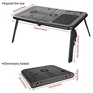 Portable Adjustable Laptop Desk/Stand/Table Home Office Vented Notebook Stand Reading Holder Bed Tray w/ Fan & Mouse Pad for Bed Sofa Couch Floor (Black, 12.5W x 22L)