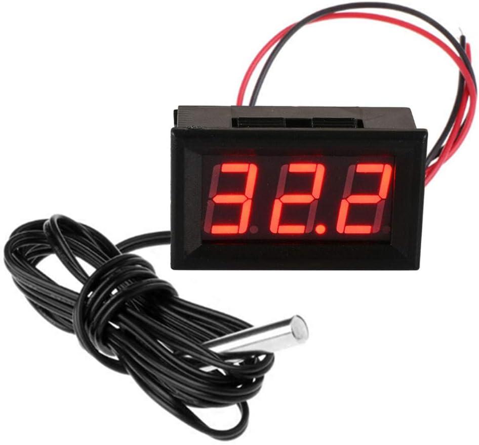 FBBULES Termómetro Digital de 12V con Sonda Medidor LED de Temperatura Monitor para Congelador Refrigerador Pecera de Acuario,Rojo