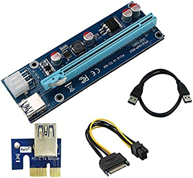 USB 3.0 PCI-E Express 1X to 16X Extender Riser Card Board with Double 6-Pin Size : Black 0.6m