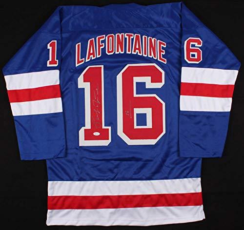 (JEM Sports Memorabilia Pat LaFontaine Signed Rangers Replica Jersey (JSA COA))