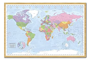 Political world map pinboard cork board with pins framed in beech political world map pinboard cork board with pins framed in beech wood includes pins gumiabroncs Images