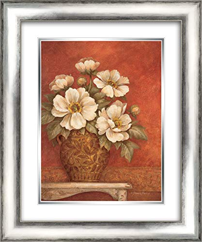 Villa Flora Peonies 20x24 Silver Contemporary Wood Framed and Double Matted Art Print by Gladding, Pamela