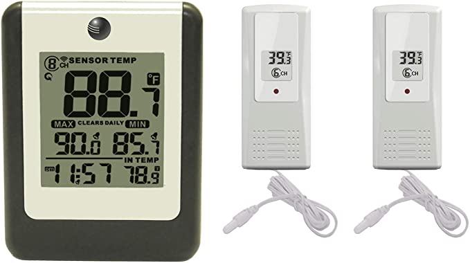 Ambient Weather F007TP 8-Channel Wireless Thermometer with Temperature Wet Probe for Ambient Weather Stations