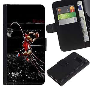 KLONGSHOP // Tirón de la caja Cartera de cuero con ranuras para tarjetas - Baloncesto Leyenda - Samsung Galaxy S6 //