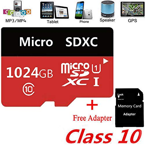 Memory Card Micro SD Card 256GB 512GB MicroSDHC Memory Card UHS-1 Up to 90MB/s Read, Class 10 C10 U1 TF Card for Camera, Security System,Smartphone,(512GB Red)