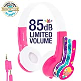 Explore Volume Limiting Kids Headphones - Durable, Comfortable & Customizable - Built in Headphone Splitter and In Line Mic - For iPad, Kindle, Computers and Tablets - Pink